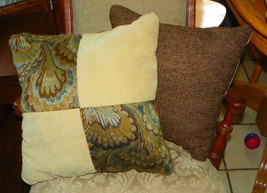 Pair of Brown Beige Abstract Print Patchwork Print Throw Pillows  18 x 18 - $49.95