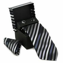 Berlioni Men's Silk Neck Tie Accessory Box Set With Cufflinks & Pocket Square image 14