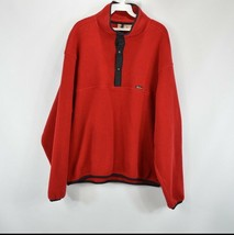 Vintage 90s Neu Woolrich Herren Groß Spell Out Druckknopf Fleece Pullover Rot - $36.83