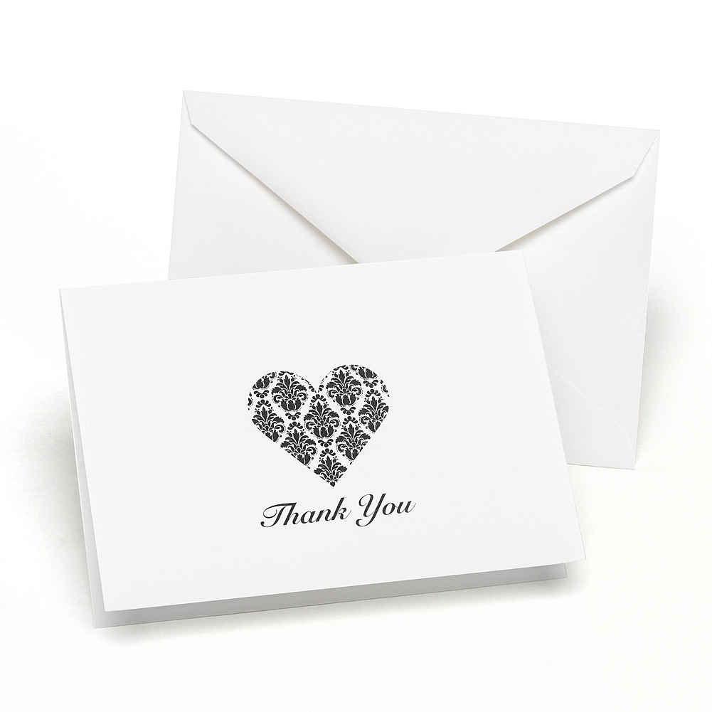Damask Heart Thank You Cards and Envelopes (Set of 50)