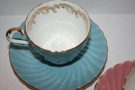 ANYSLEY Two Sets Cups and Saucers Pink and Blue Gold image 3