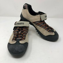 Shimano SPD Mens Strap Lace Up Brown Black Cycling Shoes Sz 7 Leather Bicycle - $29.44