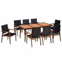 vidaXL Solid Wood Outdoor Dining Set 5/7/9 Pieces Poly Rattan Seat Furni... - $284.99+