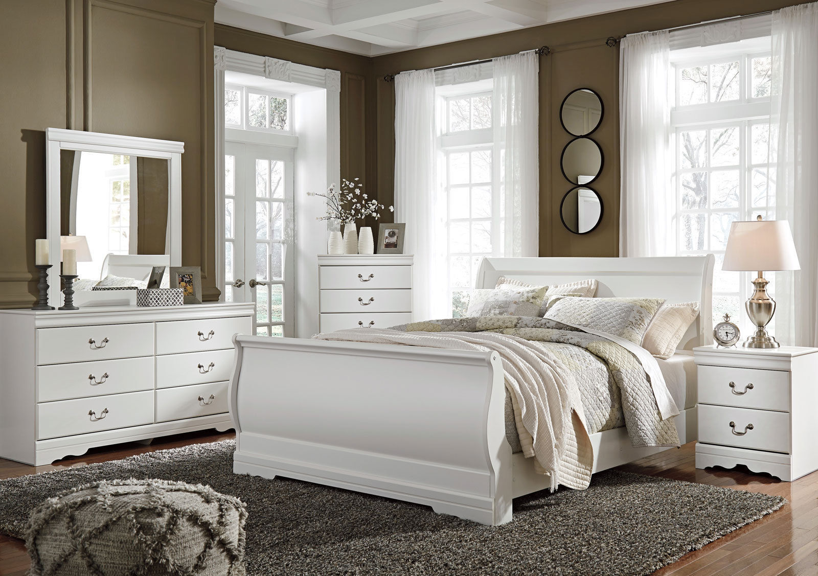 Donna traditional white 5pcs new bedroom set furniture w - Traditional white bedroom furniture ...