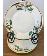 Lenox Holiday Nouveau Gold Set of 2 Salad Plates Holly Berries Christmas... - $121.54