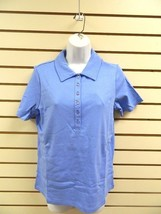 NWT DENIM & CO. SHORT SLEEVE POLO SHIRT - MARINE BLUE - FAUX TANK INSET ... - $9.89