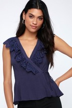 Delight of the Day Navy Blue Eyelet Wrap Top - XS Amazing Fit! - $20.00