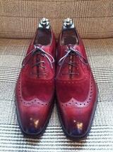 Handmade Men wingtip burgundy color shoes, Men suede and leather dress shoes - $149.99+