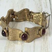 Vintage Crown Trifari Red Glass Cabochon Bracelet Gold Tone  - $116.88