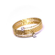 18K ROSE GOLD MAGICWIRE RING, MULTI WIRES ELASTIC WORKED, contrarié, DIAMOND image 1