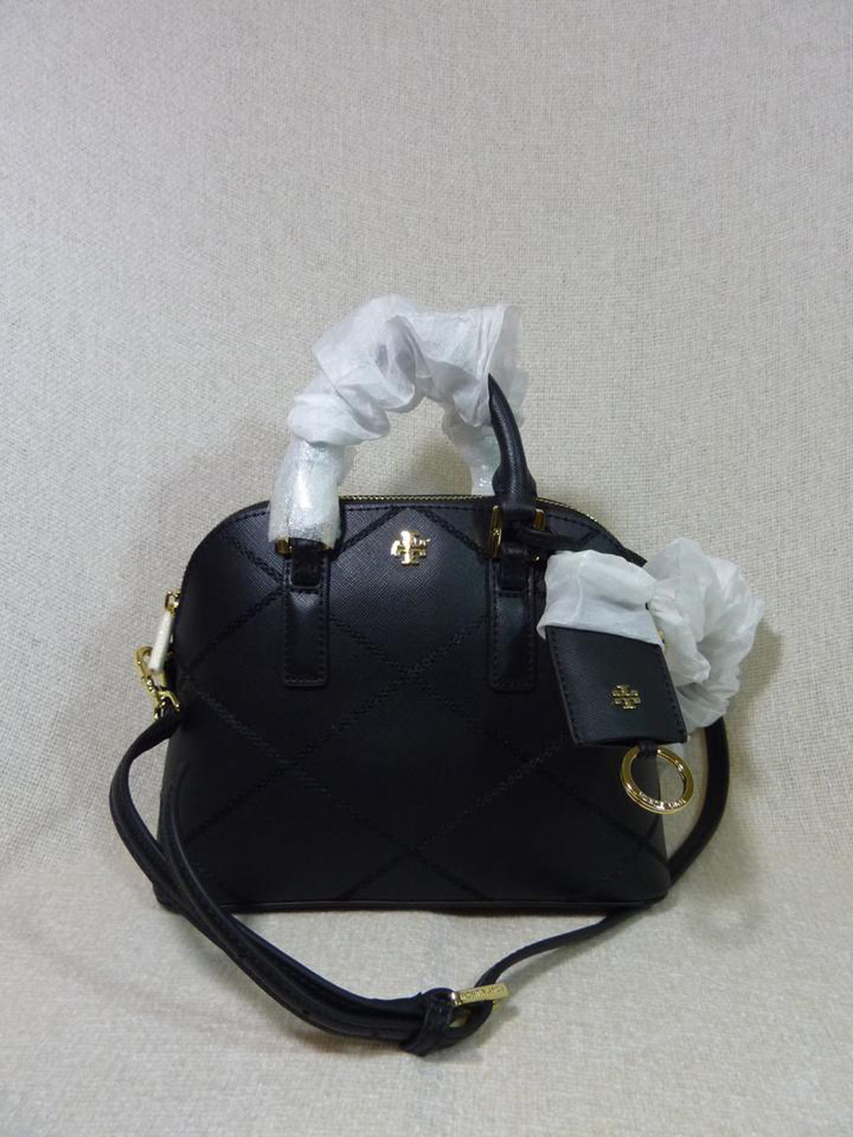 NWT Tory Burch Black Saffiano Mini Robinson Stitched Dome Cross Body Bag  - $425
