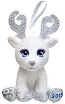 Build a Bear Glisten White Reindeer 2015 Sparkly Plush Tree Ornament Kee... - $39.95