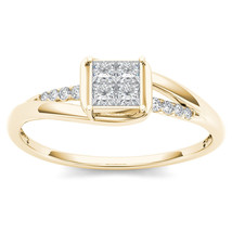 IGI Certified 14k Yellow Gold 0.23Ct Princess Diamond Engagement Fashion... - $430.78 CAD