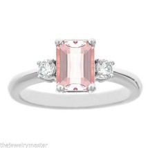 MORGANITE & DIAMOND ENGAGEMENT RING EMERALD CUT 8x6mm WHITE GOLD 1.71 CA... - €1.015,29 EUR