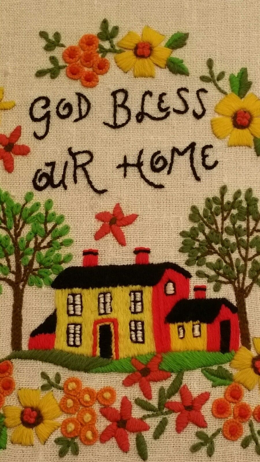 Crewel Wall Hanging God Bless Our Home and 49 similar items