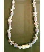 Necklace Chevron African Trade Beads Natural Rose Quartz Stone Gift Box - $24.70