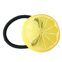 Set Of 5 Lemon Hair Rope Rubber Band Fruit Ponytail Holders Hairpin Headdress