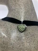 Vintage Heart Peridot Choker Necklace 925 Sterling Silver - $106.92