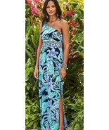Lilly Pulitzer Malia High Tide Nave Ready Set Gecko One Shoulder Maxi Dress - $166.50