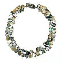 """Vintage 60's Abalone Shell Teardrop Cluster Choker Collar Necklace 18"""" - €29,37 EUR"""