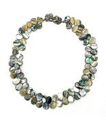 "Vintage 60's Abalone Shell Teardrop Cluster Choker Collar Necklace 18"" - $31.68"