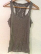 Womens Gilly Hicks Gray Racerback Tank Top Lace Back sz XS Cotton Stretch - $14.95