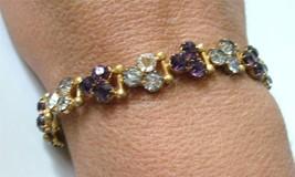 Antique Victorian Czech Glass Link Bracelet Gilt Brass Purple Amethyst C... - $88.11