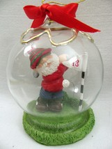 Golf Santa Claus in Globe Ball Christmas Ornament Holiday Figurine 4'' L... - $9.85