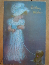 Vintage Birthday Wishes Little Girl With Dog Greeting Card English Cards... - $5.99