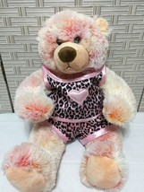 Build a Bear Pink Plush Teddy Bear Pink Black Satin Leopard Outfit Heart... - $9.49