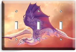 FANTASY MYTHICAL WHITE WINGS DRAGON 3 GANG LIGHT SWITCH WALL PLATE HD RO... - $17.99