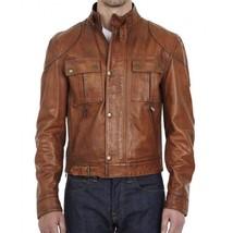 Men Real Leather Jacket Tan Brown Motorcycle Jacket Distressed Biker Jacket -FV - $108.89+