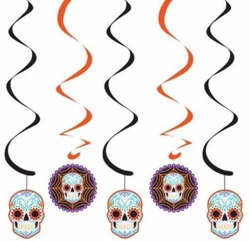 Day of the Dead Halloween Skull 5 Ct Dizzy Danglers Hanging Decor