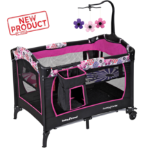 Mobile Playpen Infant Nursery Baby Portable Playard Bed Cradle Crib Bass... - $95.49