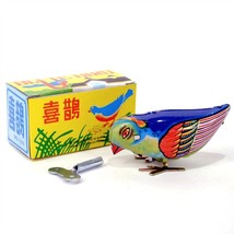 WIND UP BLUE BIRD Collectible Tin Toy Pecking Modern Retro Style NEW IN ... - $9.95