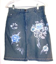 Sz 4 - A.M.I. 100% Cotton Blue Jean Denim Skirt w/Sequins & Floral Motif - $28.49