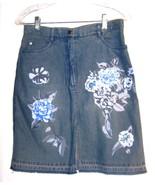 Sz 4 - A.M.I. 100% Cotton Blue Jean Denim Skirt w/Sequins & Floral Motif - $28.49