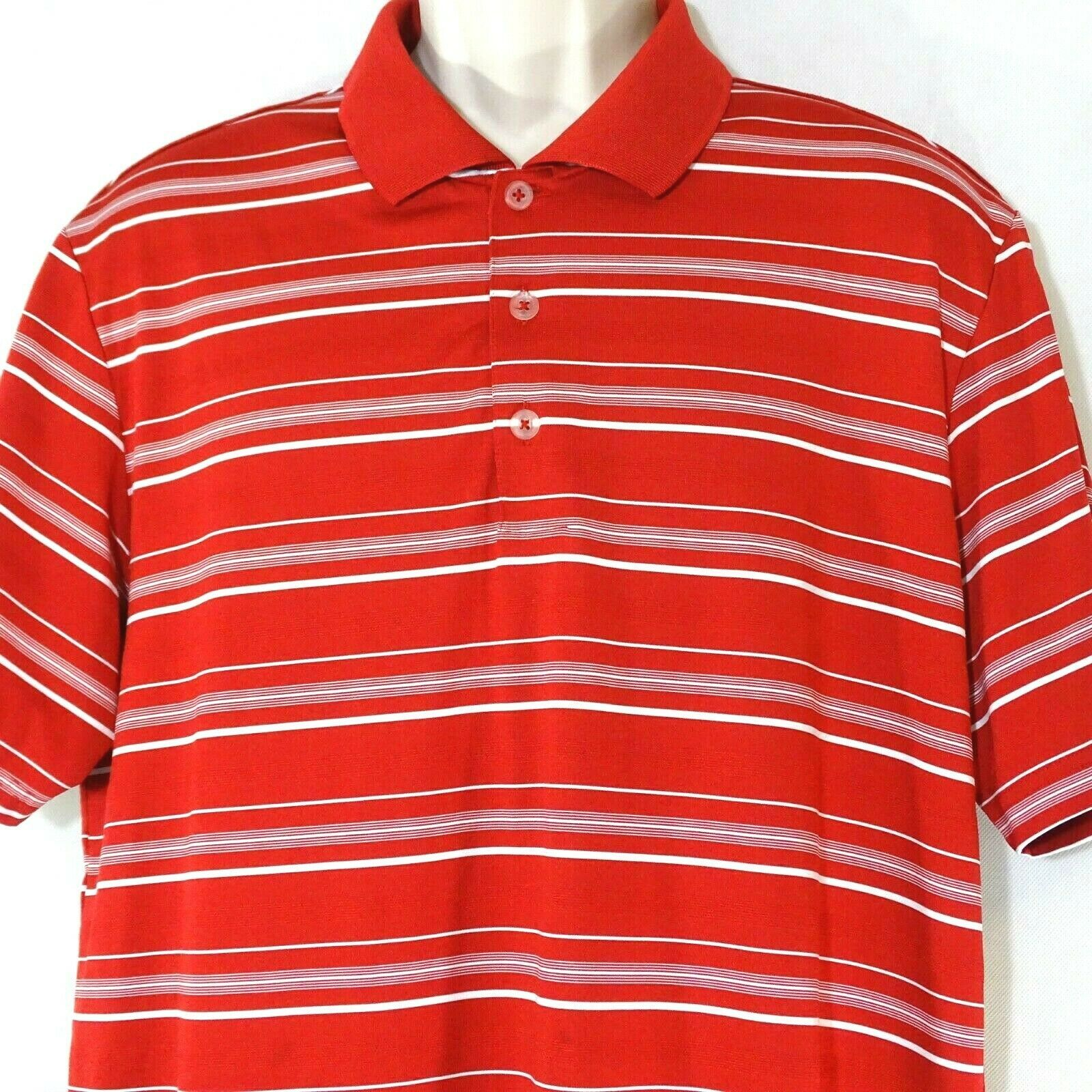 Primary image for Adidas Pure Motion Golf Polo Shirt Men Size L Red White Striped Short Sleeve