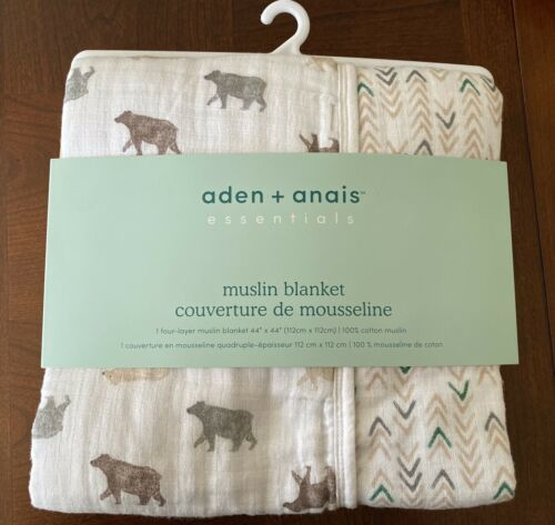 "Primary image for Aden + Anais Essentials Muslin Blanket - Bear Necessities - 44"" x 44"" NEW"