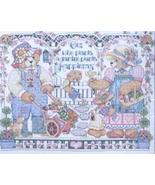 "Plaid Bucilla Cross Stitch, Gardening Bear 14""x11"" - $17.82"