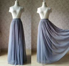 GRAY Elastic High Waist Full Maxi Tulle Skirt Plus Size Wedding Bridesmaid Skirt