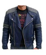 New Men Blue Leather Color Jacket, Men's Bomber Jacket Men's Real Leathe... - $169.99
