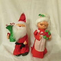 Vintage Christmas Decorations Santa  Mrs. Claus Paper Mache Felt figures... - $9.89
