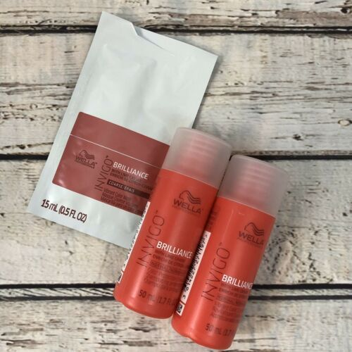 Primary image for Wella Brilliance Travel Shampoo, Conditioner for Normal Hair & Color Mask Sample