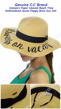 NEW! CC Women's Paper Weaved Beach Time Embroidered Quote Floppy Brim CC... - $17.99