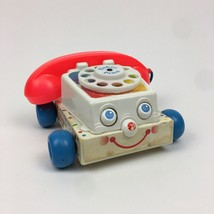 Fisher Price Vintage 1985 Rotary Telephone Toy Phone Moving Eyes Bell Noise - $14.01