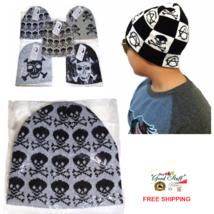 Fashion Unisex Knit Ski Skull Cap Warm Gray Hat w Skeleton for Boys Girl... - $3.99