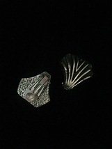 Vintage 70s clip on silver abstract shell earrings image 2