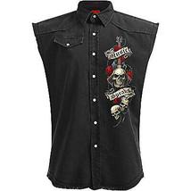 Men's Spiral Unspoken Stone Washed Sleeveless Black Denim Jean Button Up Vest image 2