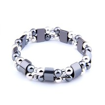 Hematite Beads Bracelet Weight Loss Therapy Health Care Stretch Bracelet for Men - $10.91